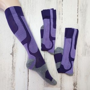 2 Pair Women's Compression Knee High Running Socks